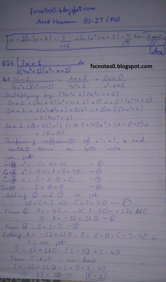 FSc ICS Notes Math Part 2 Chapter 3 Integration Exercise 3.5 question 23 - 31 by Asad Hussain 4