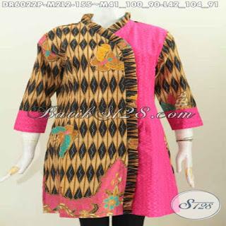 model gamis batik kombinasi embos