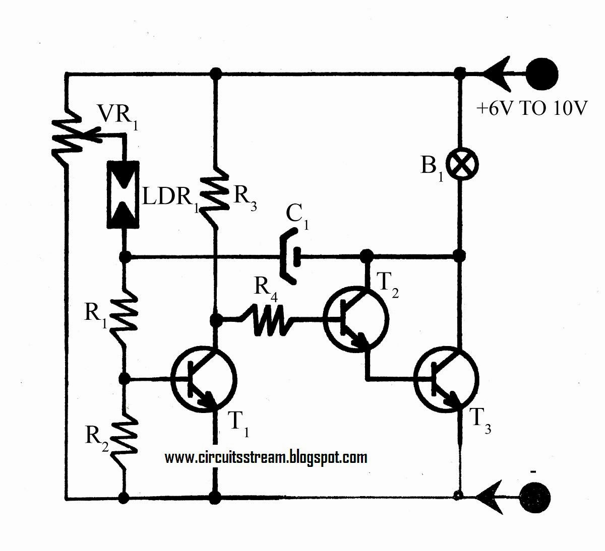 Build A Flashing Light With Twilight Switch Circuit Diagram