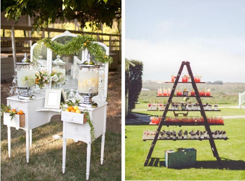 Unique Outdoor Wedding Drink Tables