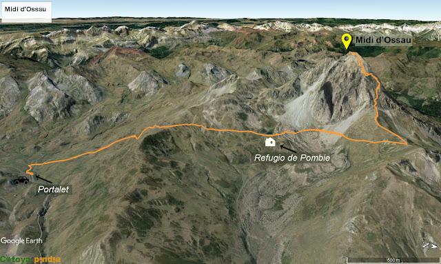 Mapa señalizado en 3D de la ruta la Midi d'Ossau