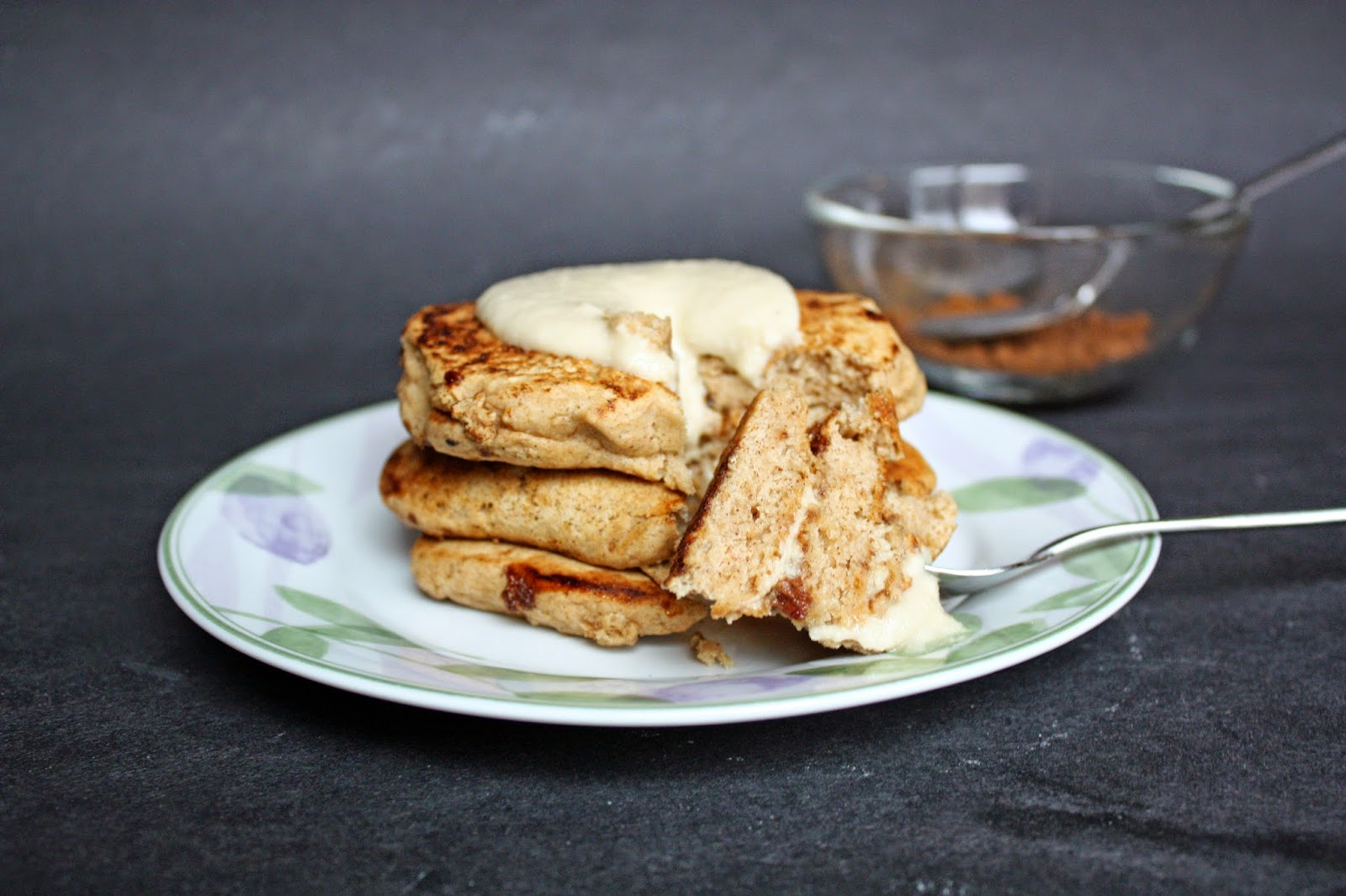 easy vegan cinnamon pancakes with cream cheese glaze
