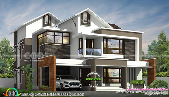 mixed roof modern contemporary house