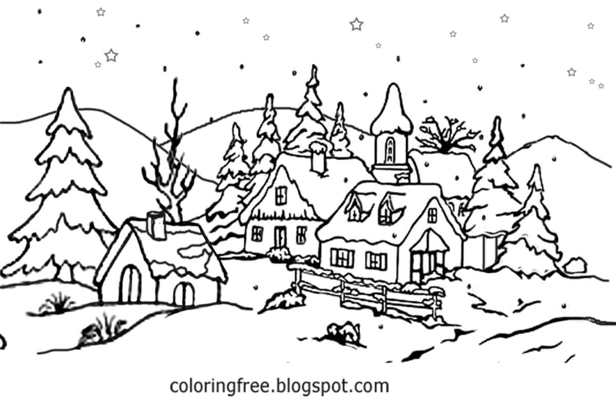 Winter Snow Scene Coloring Pages