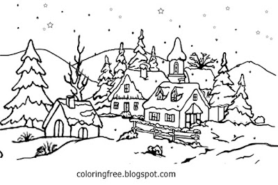 Snowflake village countryside teenage coloring pages winter snow scenes clipart craft activity sheet