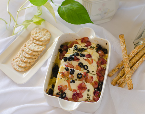 Baked Ricotta with Grapes and Black Olives