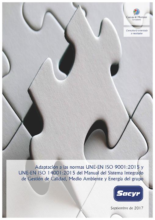 Portada del contrato por el que Cuevas y Montoto Consultores ayudará al grupo Sacyr a adaptar su Manual de Gestión corporativo a las nuevas normas ISO 9001 e ISO 14001 de 2015