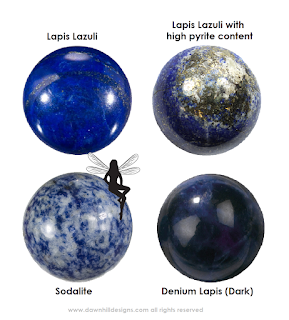 Lapis Lazuli, Sodalite and Denim Lapis are shown off by Hazel