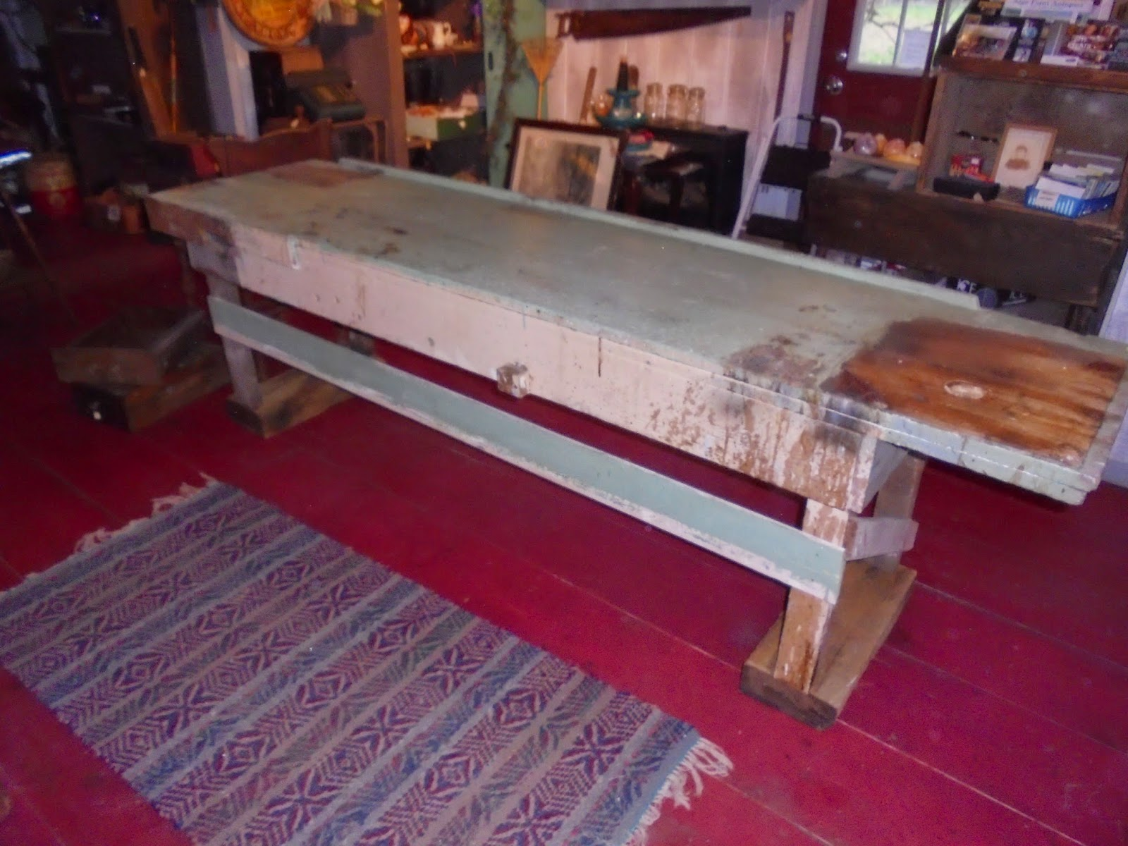 Pleasing Log Cabin Antiques Gifts Long Wooden Workbench Machost Co Dining Chair Design Ideas Machostcouk