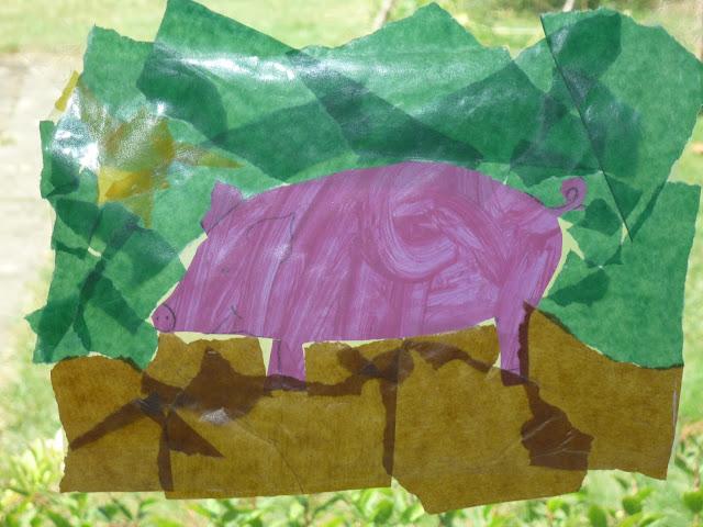 Fensterdeko Schwein Kindergarten