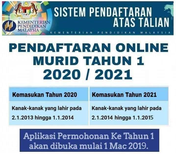 PENDAFTARAN ONLINE MURID TAHUN 1 2020/2021