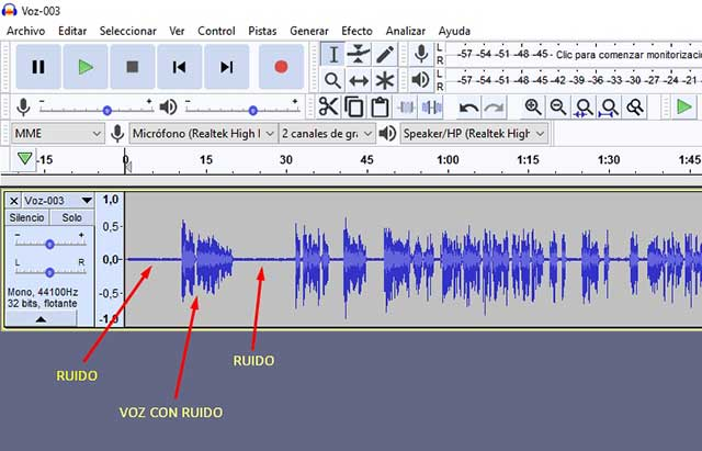 seleccionar ruido del audio