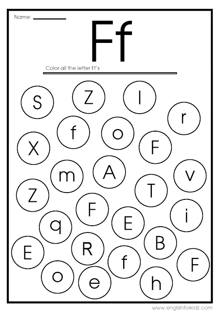 Find letter f worksheet -- printable ESL materials to teach English alphabet