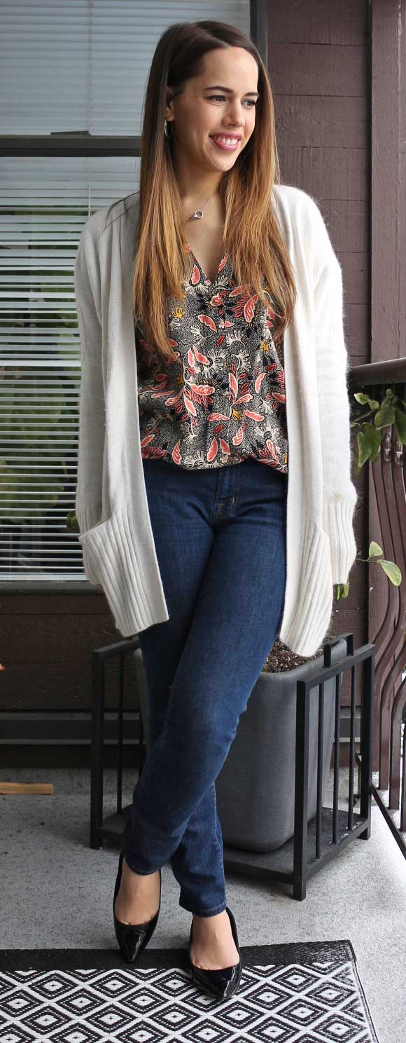 Jules in Flats - H&M Paisley Blouse, Talula Lenox Cardigan, J Brand 811 Mid-Rise Skinny Jeans in Pure