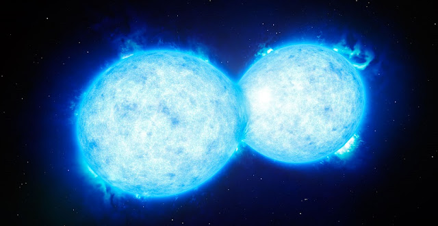 This artist's impression shows VFTS 352 — the hottest and most massive double star system to date where the two components are in contact and sharing material. The two stars in this extreme system lie about 160 000 light-years from Earth in the Large Magellanic Cloud. This intriguing system could be heading for a dramatic end, either with the formation of a single giant star or as a future binary black hole.  Credit: ESO/L. Calçada