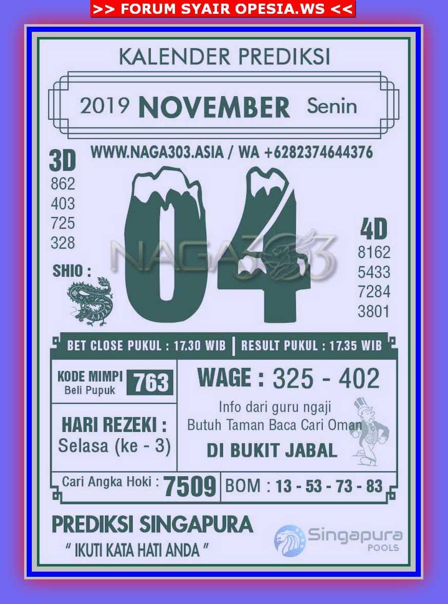 Kode syair Singapore Senin 4 November 2019 78