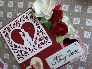 Zestaw kartka i duże pudełko w czerwieniach na ślub