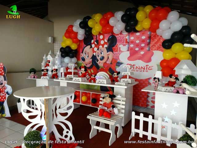 Decoração de festa infantil tema Minnie vermelha para aniversário - Provençal luxo