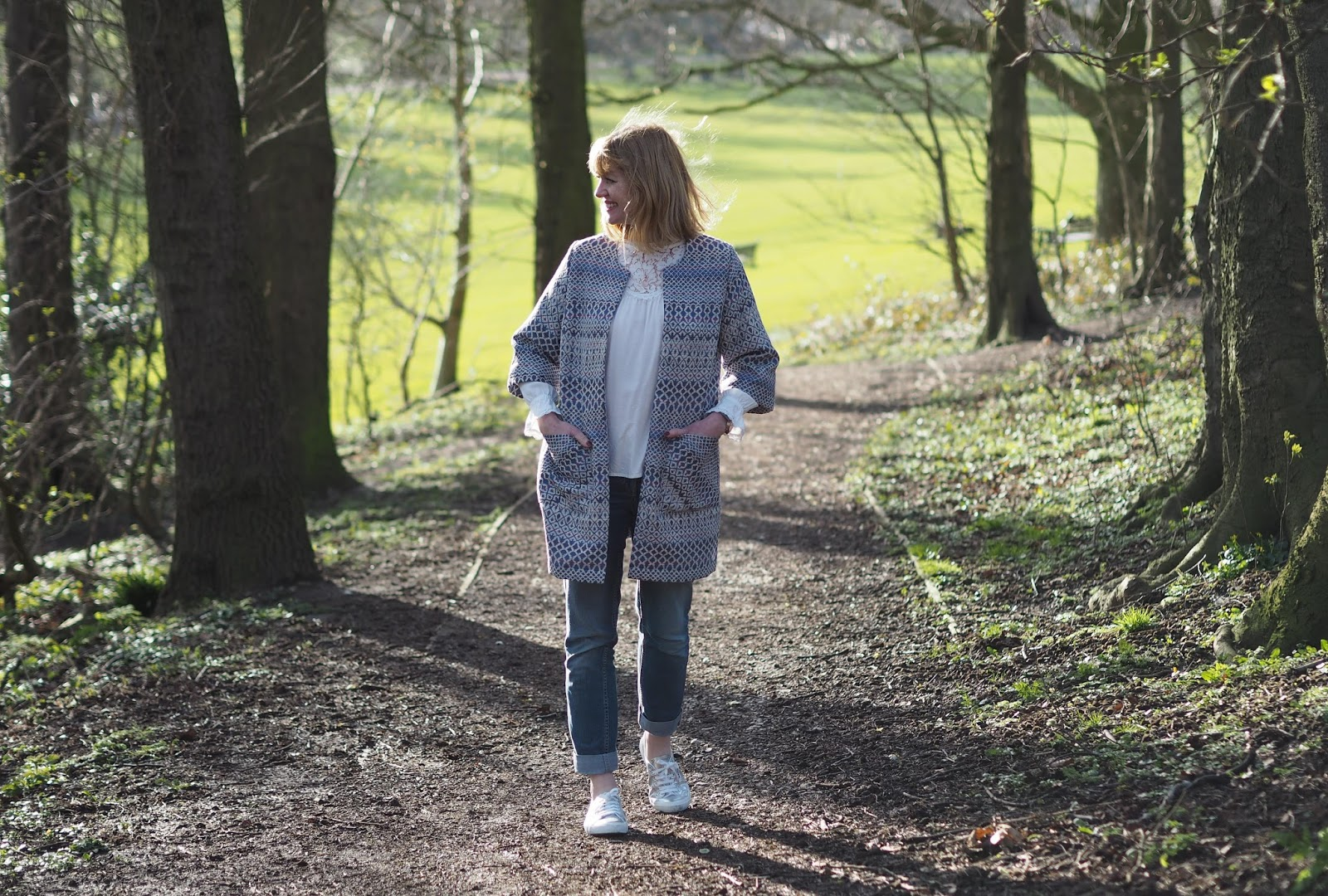 Kaleidoscope jacquard jacket, boyfriend jeans,silver Superga trainers, over 40