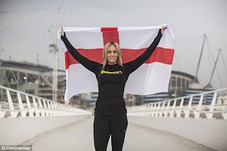 DCD D England Forward Toni Duggan Holds Aloft The St George S Flag As