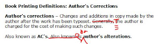 author's corrections or author's alterations