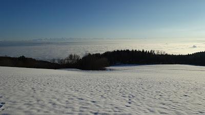 Nebelmeer mit Schnee und Abendsonne