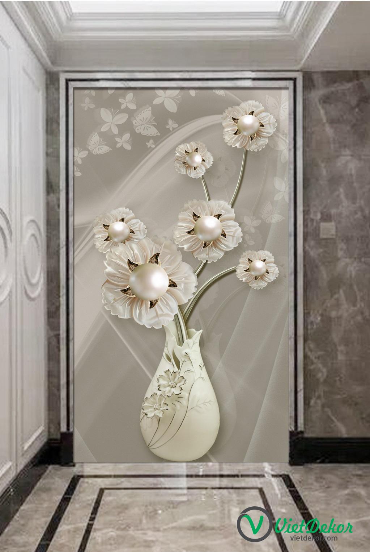 Tranh 3d khổ dọc hoa ngọc trai sảnh phòng khách đẹp
