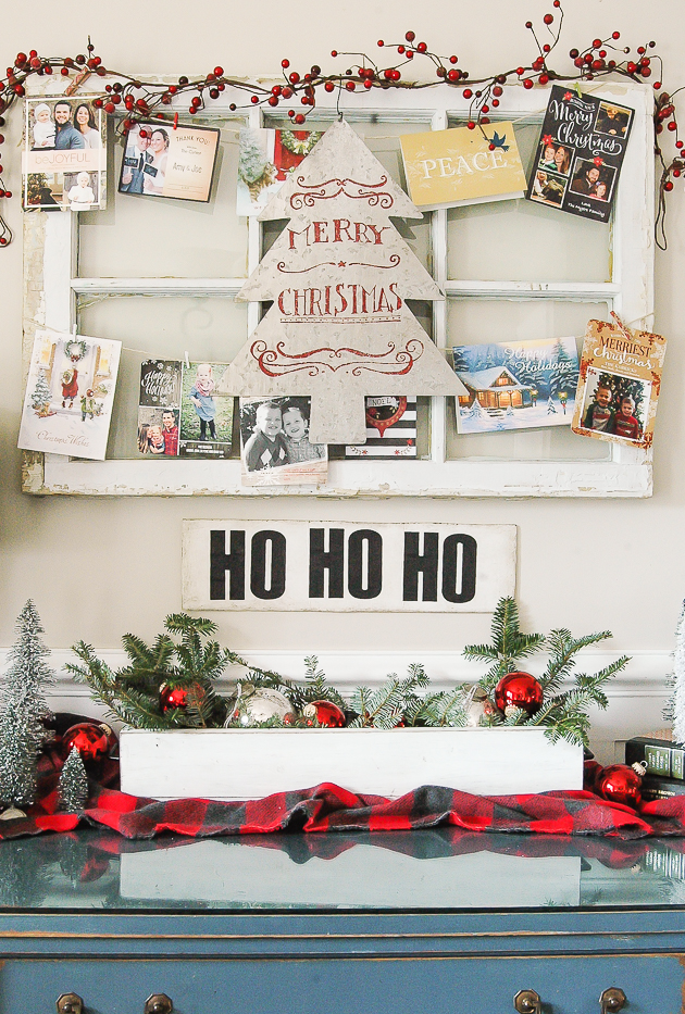 Vintage window panel christmas card display