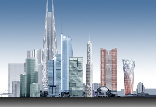 Illustration showing future Moscow's skyline