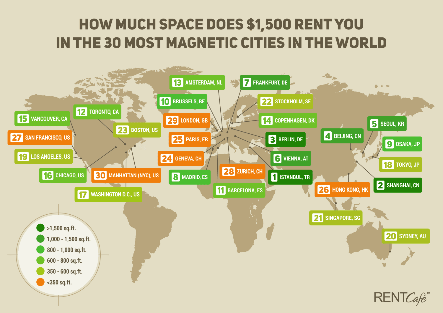 How much space does 1 500 rent you in the 30 most for How much to buy an apartment in nyc