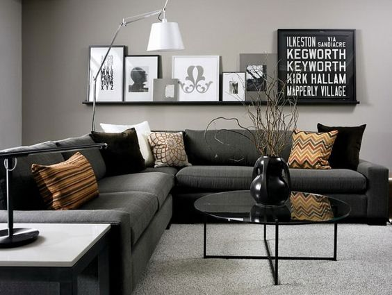 Modern style: black and white in living room