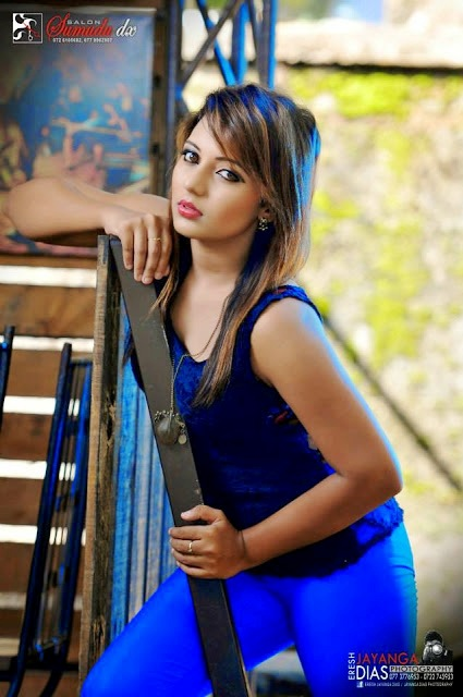Hot Models Shani Shenaya Blue Trouser