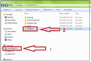 Kemudian buka Local Disk ( C ) di komputer sahabat dan klik doubel Folder Windows, lihat gambar.