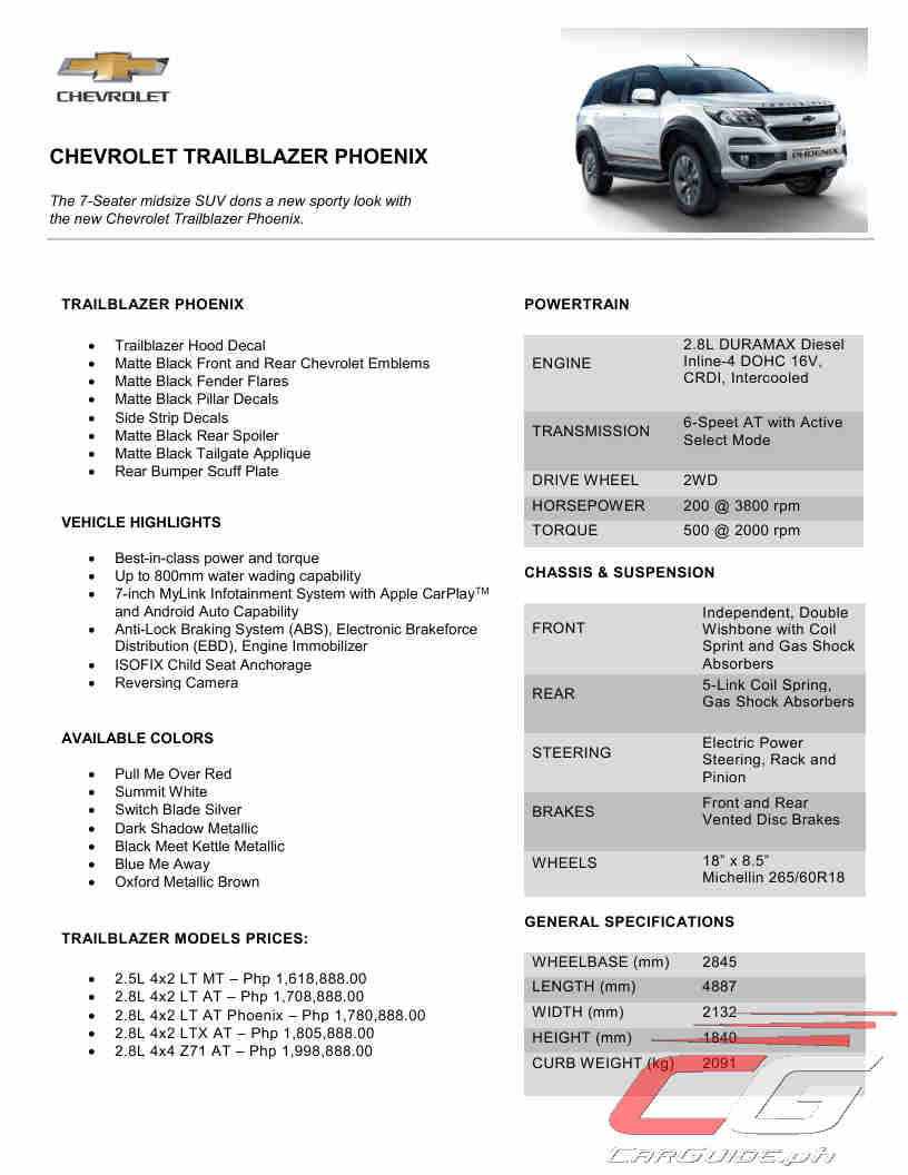 Chevrolet Philippines Rises With The Trailblazer Phoenix W Specs Carguide Ph Philippine Car News Car Reviews Car Prices