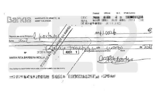 Un cheque vincula a Rita Barberá con la trama de blanqueo en el PP de Valencia