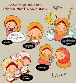 Gambar Karikatur Ramadhan Amalan Saat di Bulan Suci Puasa Ramadan