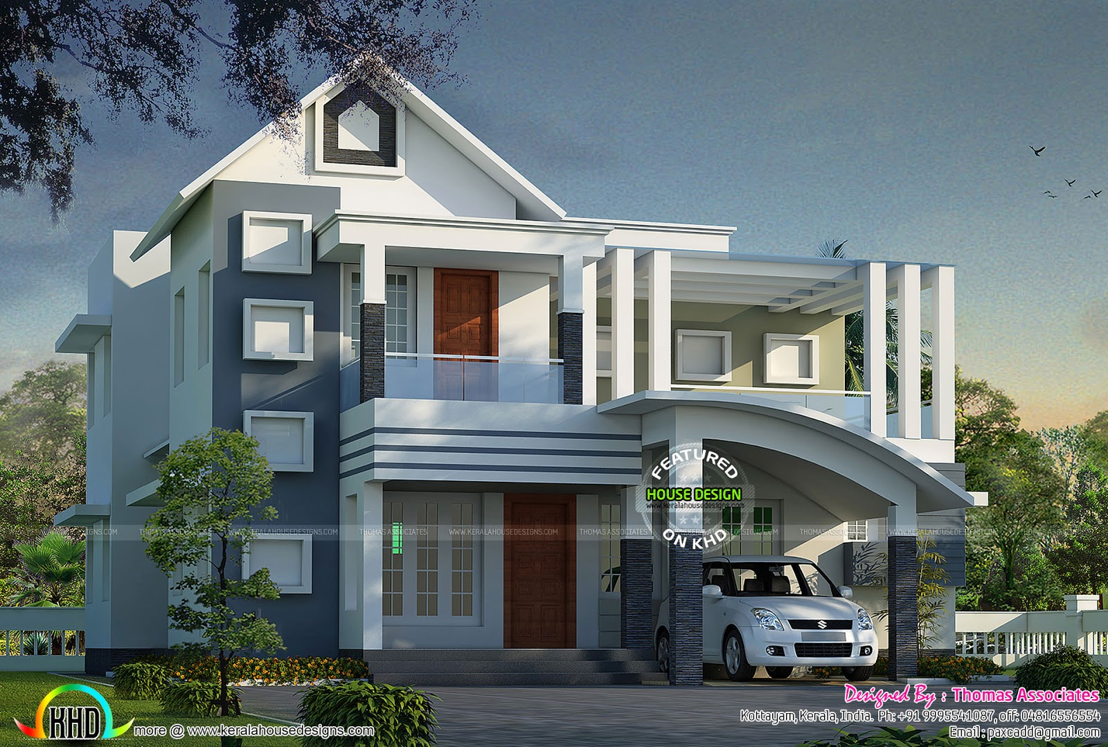 Contemporary mix modern home architecture kerala home for Architecture design kerala house