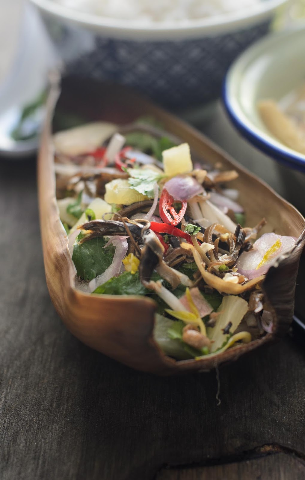 Banana Blossom and Pineapple salad