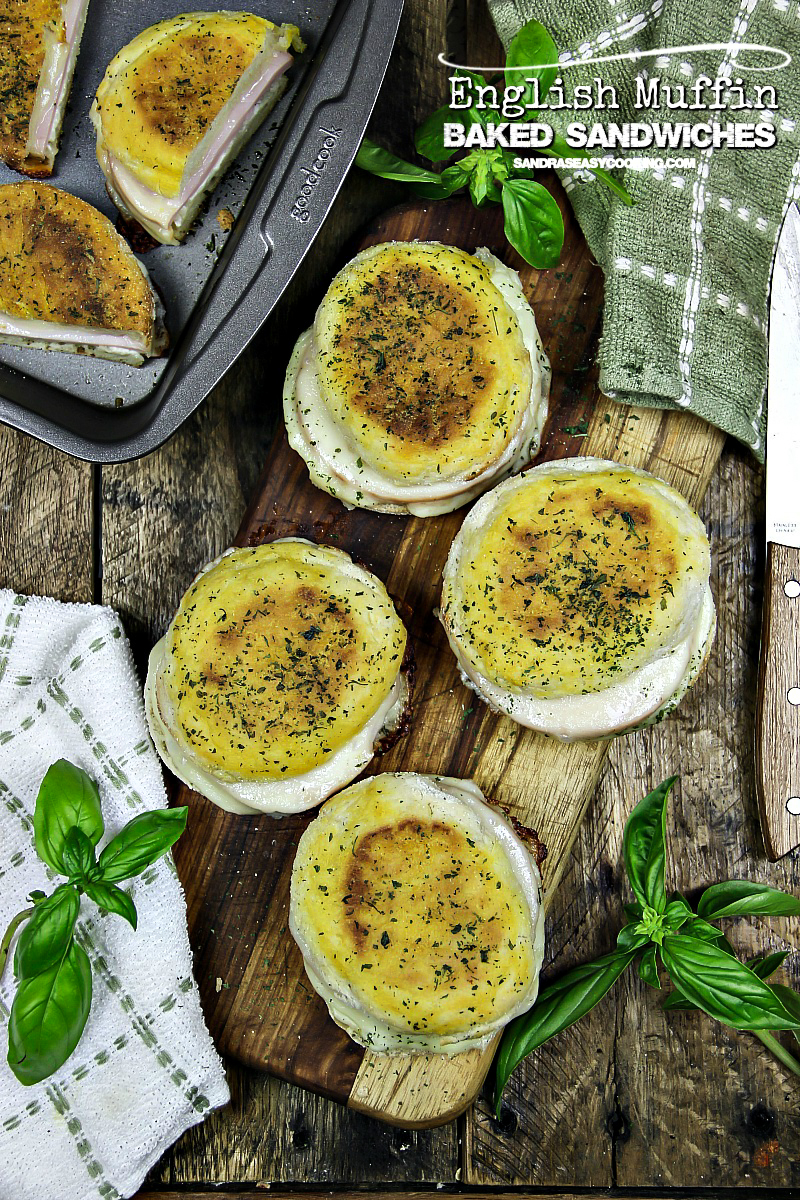 Easy English muffin baked sandwiches + VIDEO - for more recipes and videos, visit Sandra's Easy Cooking #recipe #snack #sandwich #food #homemade #video #youtube #cooking #share