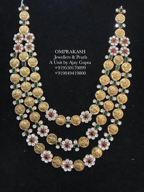 Three Layer Lakshmi Kasu Mala with Diamonds