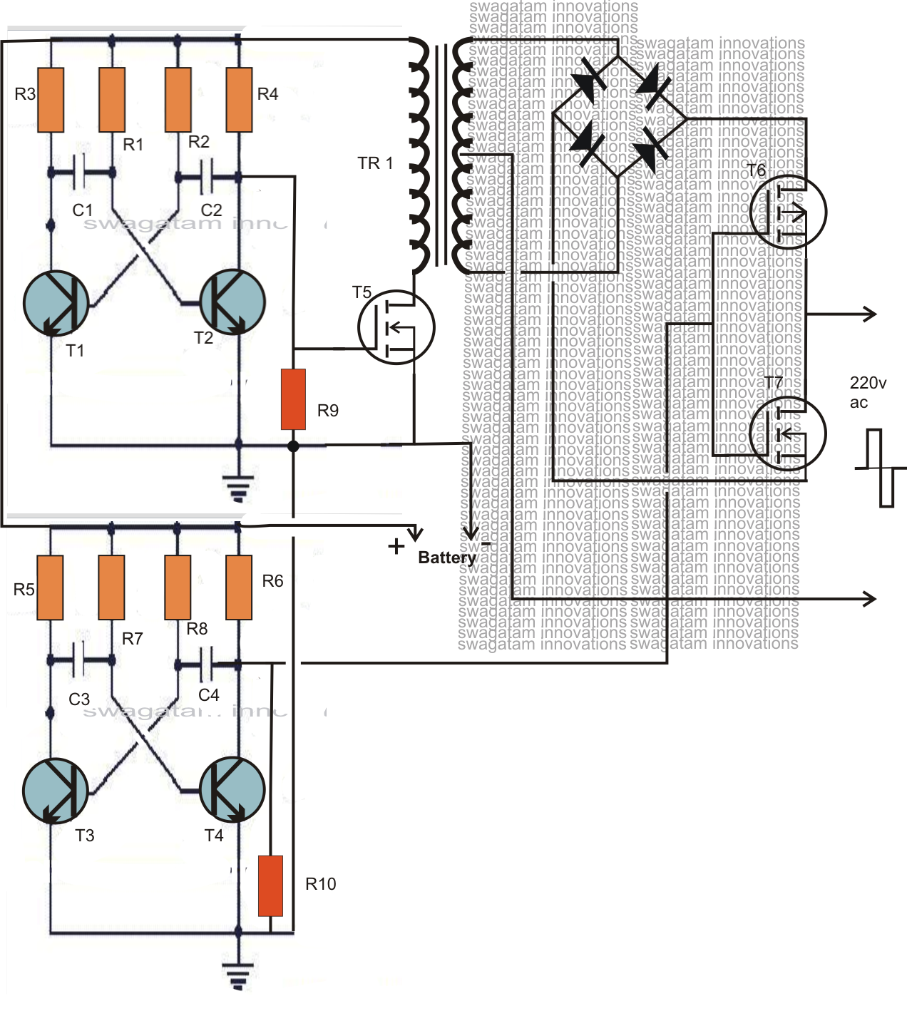dc to ac inverter diagram powered subwoofer home audio wiring diagrams 12v 220v circuit how make pdf