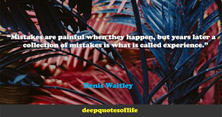 """Mistakes are painful when they happen, but years later a collection of mistakes is what is called experience.""  ― Denis Waitley"