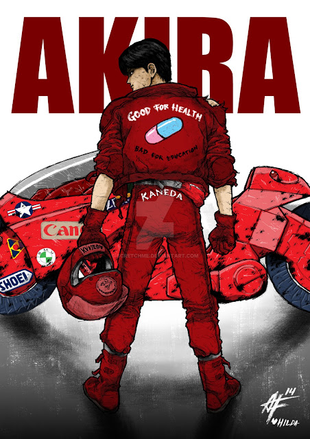 Kaneda and motorcycle iIllustration by Scretchme