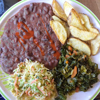New Orleans red beans with coleslaw, kale and air fried potatoes.