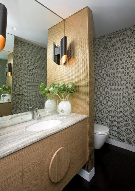 guest bathroom modern design with plants