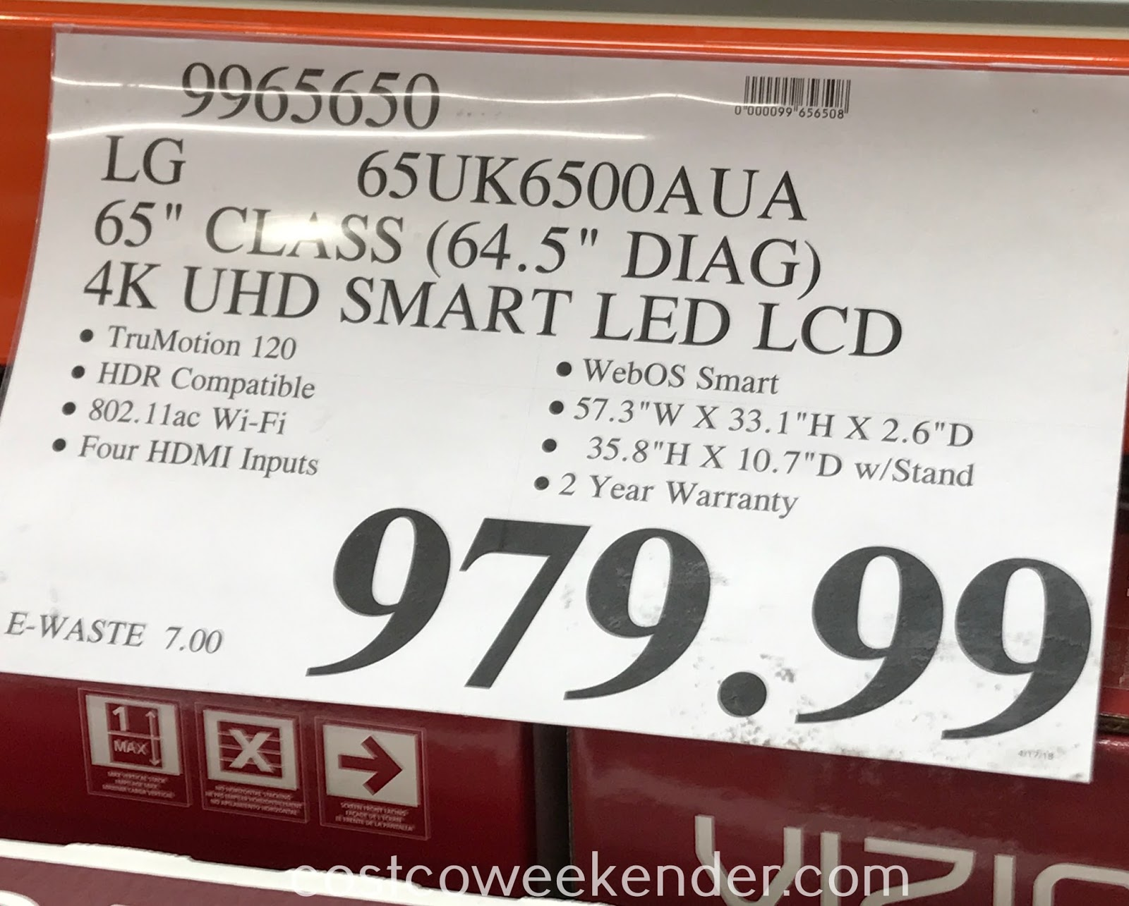 Deal for the LG 65UK6500AUA 65in tv at Costco
