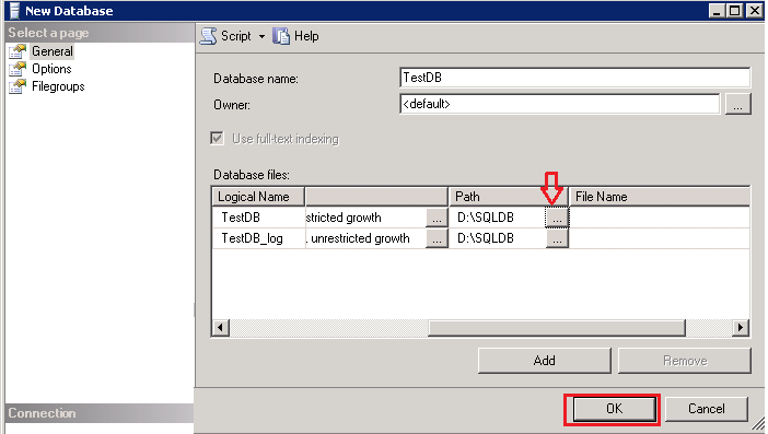 Create new SQL Database in specified location using SSMS