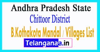 B.Kothakota Mandal Villages Chittoor District Andhra Pradesh State