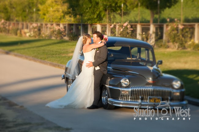 bride and groom with 1955 De Soto