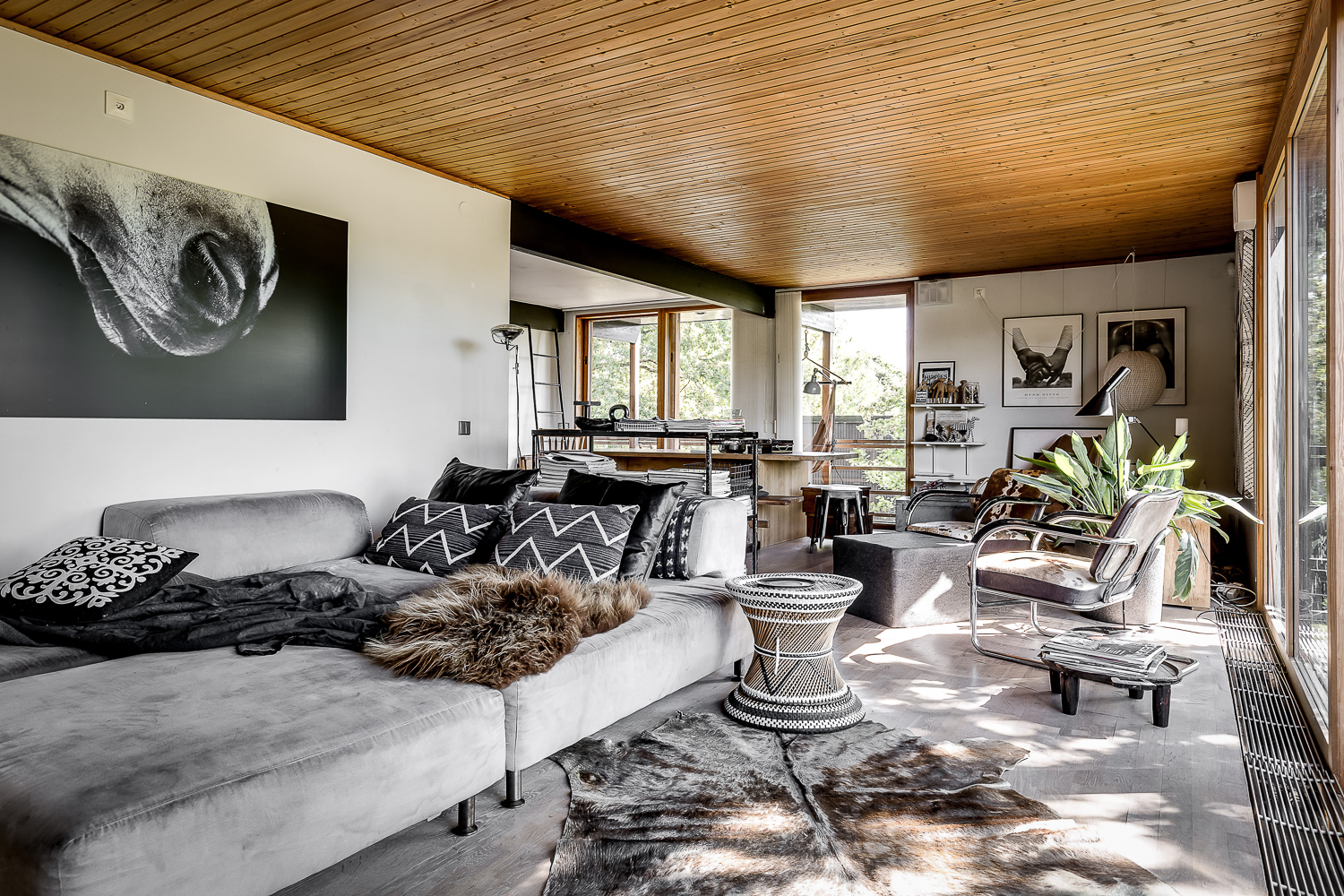 A beach villa in sweden with beautiful interiors in earth tones and natural materials